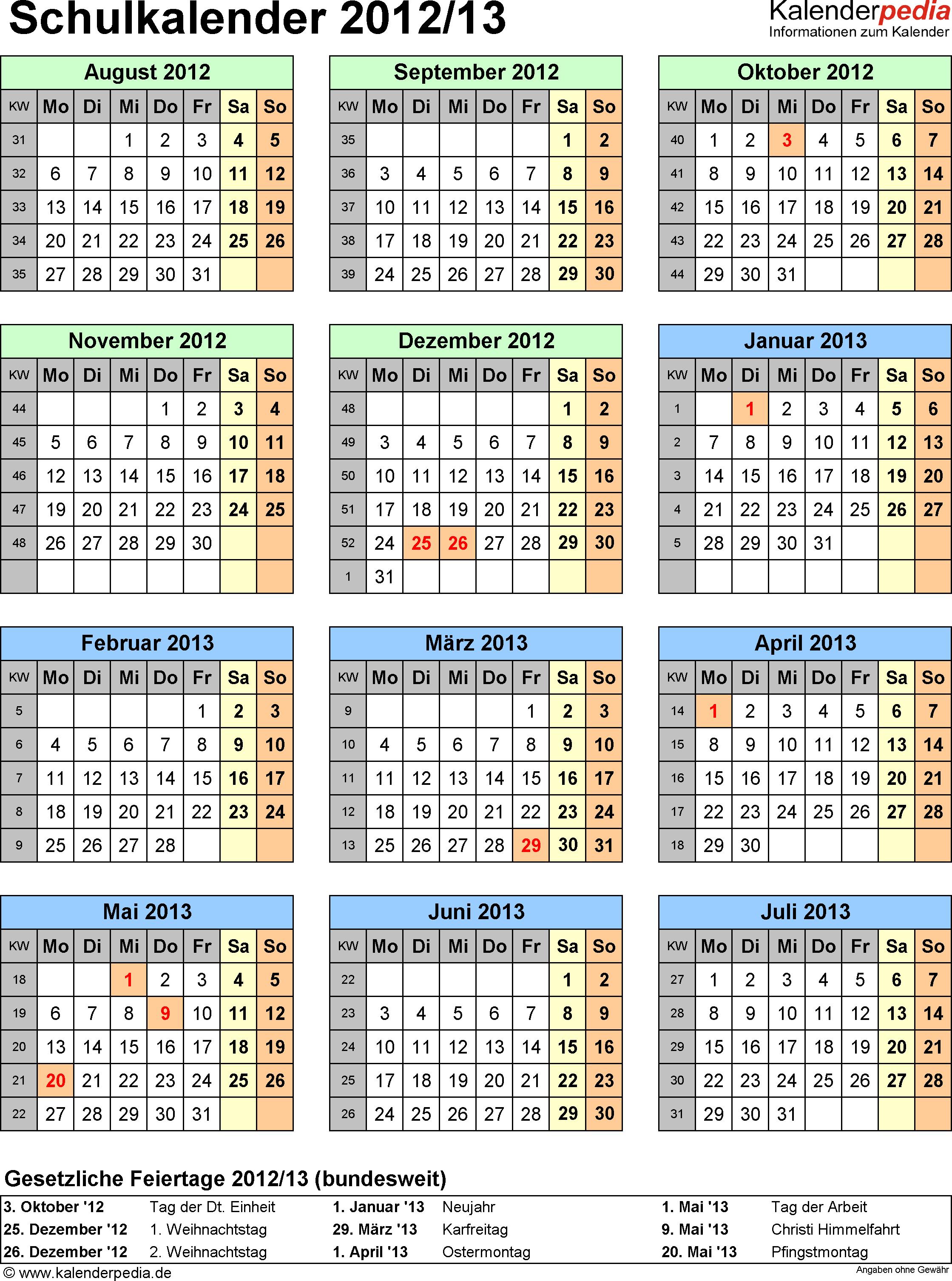 Vorlage 6: Schuljahreskalender 2012/2013 im Hochformat, Jahresübersicht