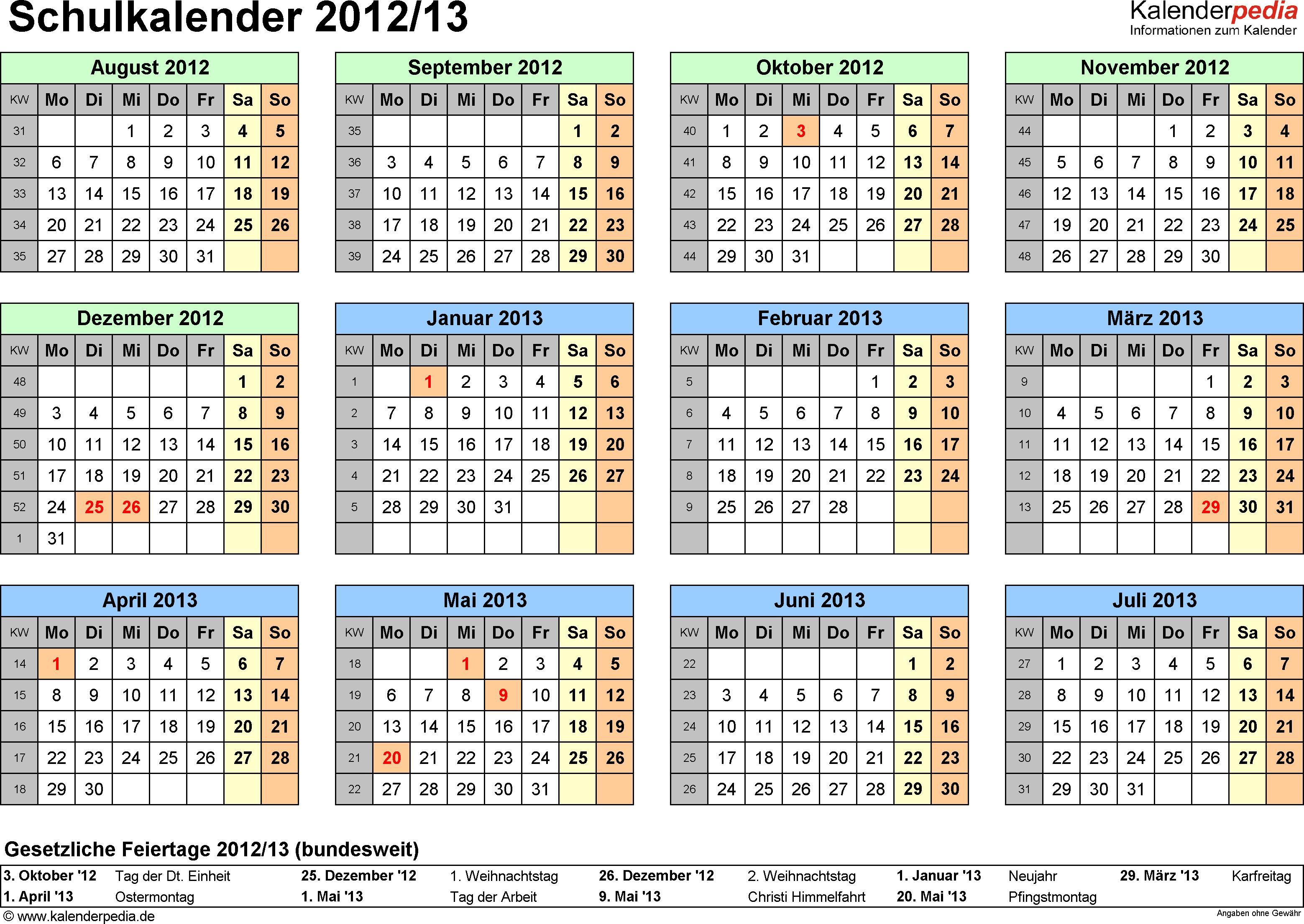 Vorlage 4: Schuljahreskalender 2012/2013 im Querformat, Jahresübersicht