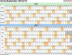 Vorlage 2: Schuljahreskalender 2012/2013 im Querformat