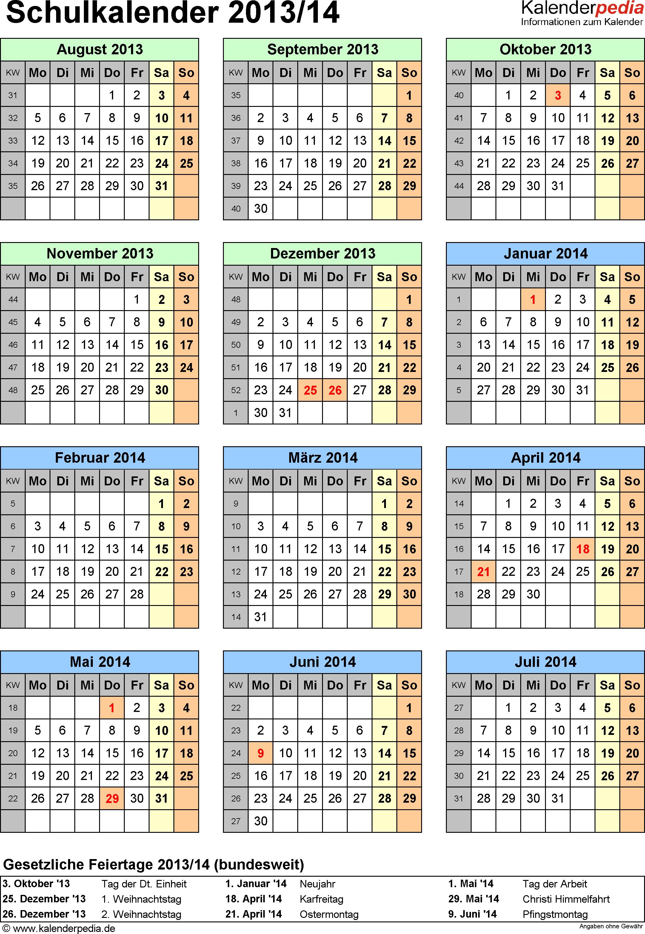 Vorlage 5: Schuljahreskalender 2013/2014 im Hochformat, Jahresübersicht