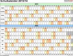 Vorlage 2: Schuljahreskalender 2013/2014 im Querformat