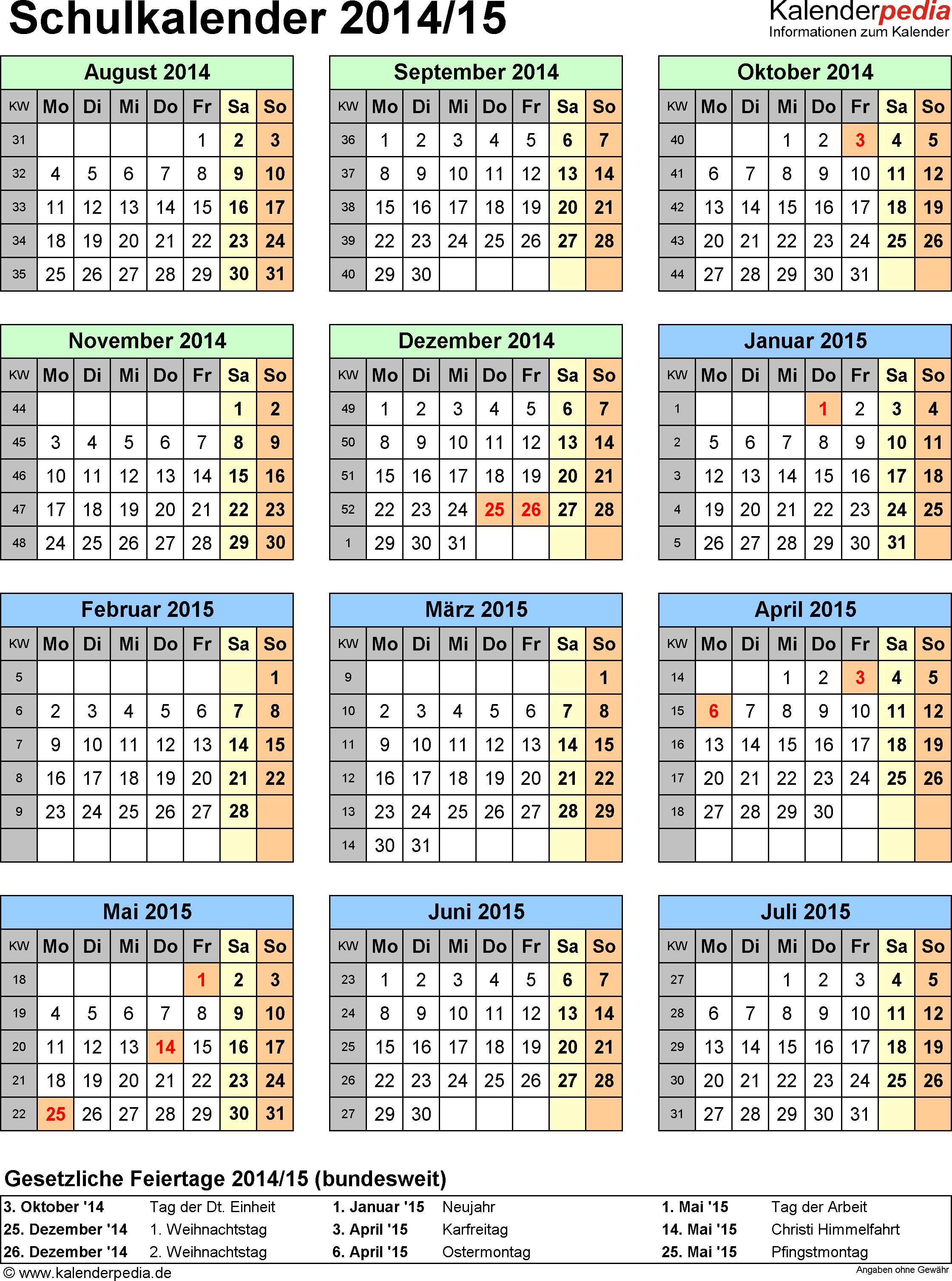 Vorlage 5: Schuljahreskalender 2014/2015 im Hochformat, Jahresübersicht