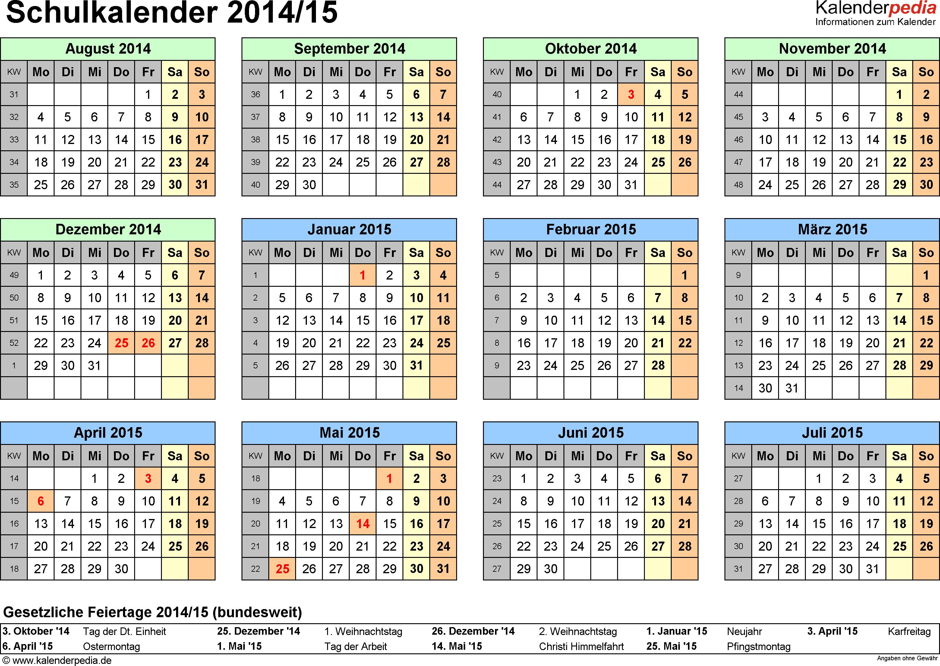 Vorlage 4: Schuljahreskalender 2014/2015 im Querformat, Jahresübersicht