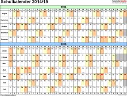 Vorlage 3: Schuljahreskalender 2014/2015 im Querformat