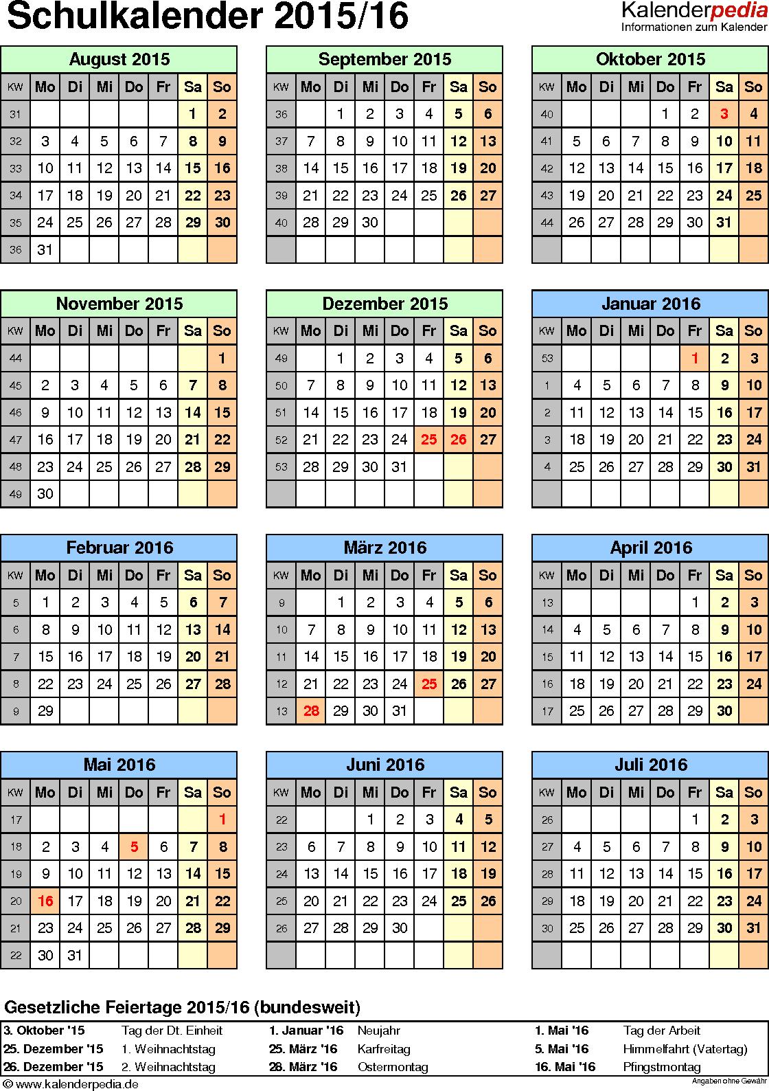 Vorlage 5: Schuljahreskalender 2015/2016 im Hochformat, Jahresübersicht