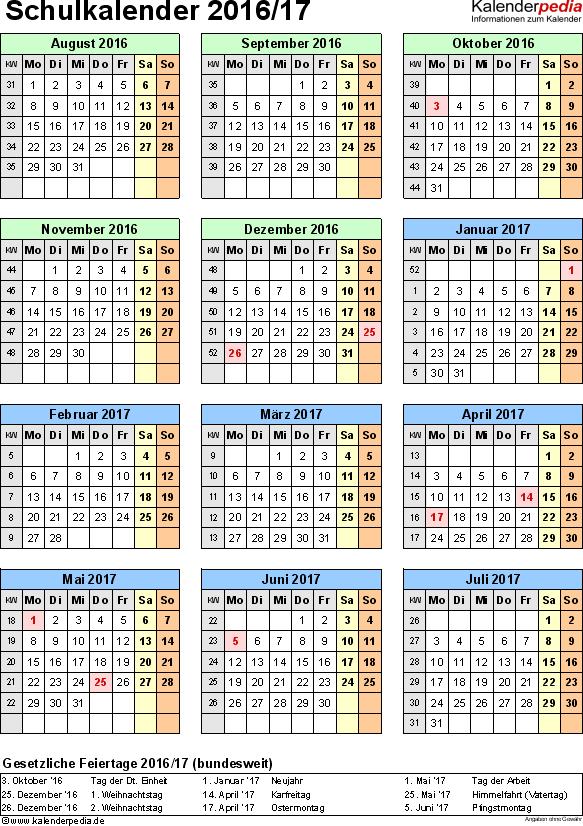 Vorlage 6: Schuljahreskalender 2016/2017 im Hochformat, Jahresübersicht