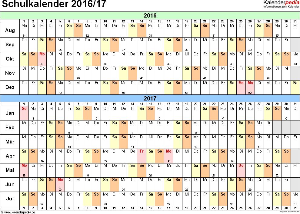 Vorlage 2: Schuljahreskalender 2016/2017 im Querformat