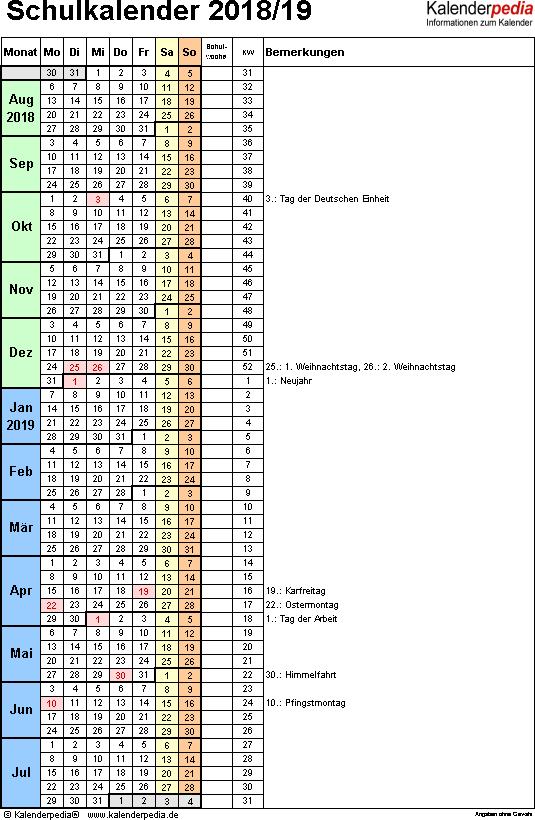 Vorlage 7: Schuljahreskalender 2018/2019 im Hochformat, 1 Seite, Tage fortlaufend (Wochengliederung)