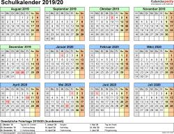 Vorlage 4: Schuljahreskalender 2019/2020 im Querformat, Jahresübersicht