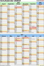 Vorlage 5: Schuljahreskalender 2020/2021 im Hochformat, 1 Seite, nach Jahreshälften untergliedert