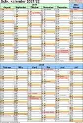 Vorlage 5: Schuljahreskalender 2021/2022 im Hochformat, 1 Seite, nach Jahreshälften untergliedert