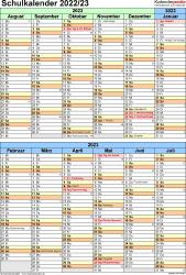 Vorlage 5: Schuljahreskalender 2022/2023 im Hochformat, 1 Seite, unterteilt in 6-Monats-Blöcke