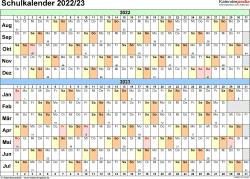 Vorlage 3: Schuljahreskalender 2022/2023 im Querformat