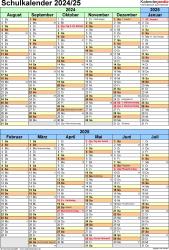 Vorlage 5: Schuljahreskalender 2024/2025 im Hochformat, 1 Seite, unterteilt in 6-Monats-Blöcke