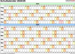Vorlage 3: Schuljahreskalender 2024/2025 im Querformat