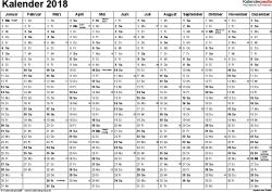 Vorlage 2: Kalender 2018 für Excel, Querformat, 1 Seite, Monate nebeneinander