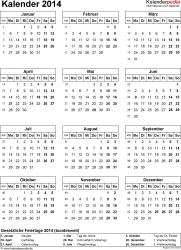 Vorlage 13: Kalender 2014 für Excel, Hochformat, 1 Seite