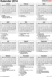 Vorlage 15: Kalender 2014 für Excel, Hochformat, 1 Seite, mit Feiertagen und Festtagen