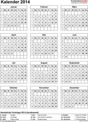 Vorlage 14: Kalender 2014 für Excel, Hochformat, 1 Seite