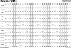 Vorlage 2: Kalender 2014 für Excel, Querformat, 1 Seite, Tage nebeneinander