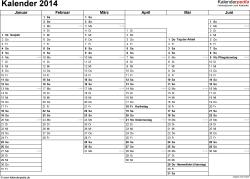 Vorlage 4: Kalender 2014 für Excel, Querformat, 2 Seiten, Wochentage nebeneinander, 1. Jahreshälfte und 2. Jahreshälfte auf jeweils eigener Seite