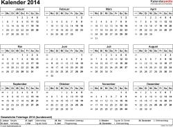 Vorlage 6: Kalender 2014 für Excel, Querformat, 1 Seite