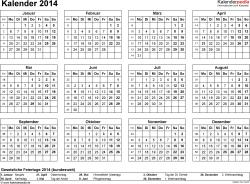 Vorlage 7: Kalender 2014 für Excel, Querformat, 1 Seite