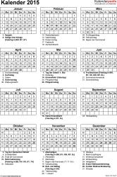 Word-Kalender 2015 Vorlage 16: Hochformat, 1 Seite, mit Feiertagen und Festtagen