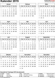 Vorlage 14: Kalender 2015 für Excel, Hochformat, 1 Seite