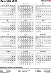 Vorlage 15: Kalender 2015 für Excel, Hochformat, 1 Seite