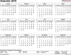 Word-Kalender 2015 Vorlage 7: Querformat, 1 Seite
