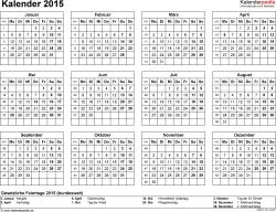 Word-Kalender 2015 Vorlage 8: Querformat, 1 Seite