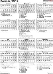 Vorlage 16: Kalender 2016 für Excel, Hochformat, 1 Seite, mit Feiertagen und Festtagen