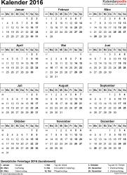 Vorlage 14: Kalender 2016 für Excel, Hochformat, 1 Seite