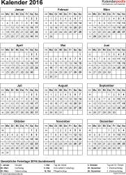 Vorlage 15: Kalender 2016 für Excel, Hochformat, 1 Seite