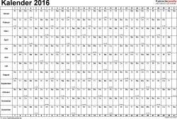 Vorlage 3: Kalender 2016 für Excel, Querformat, 1 Seite, Tage nebeneinander
