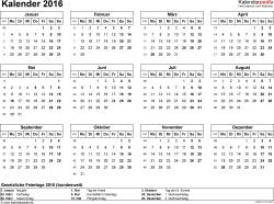Vorlage 7: Kalender 2016 für Excel, Querformat, 1 Seite