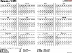 Vorlage 8: Kalender 2016 für Excel, Querformat, 1 Seite