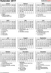 Vorlage 16: Kalender 2017 für Excel, Hochformat, 1 Seite, mit Feiertagen und Festtagen