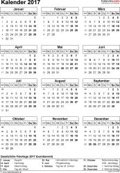Vorlage 14: Kalender 2017 für Excel, Hochformat, 1 Seite