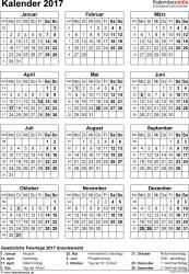 Vorlage 15: Kalender 2017 für Excel, Jahresansicht, Hochformat, 1 Seite