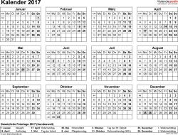 Vorlage 8: Kalender 2017 für Excel, Querformat, 1 Seite