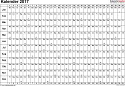 Vorlage 3: Kalender 2017 für Excel, Querformat, 1 Seite, Tage nebeneinander (linear)