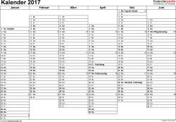 Vorlage 5: Kalender 2017 für Excel, Querformat, 2 Seiten, Wochentage nebeneinander, 1. Jahreshälfte und 2. Jahreshälfte auf jeweils eigener Seite