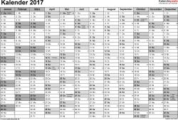 Vorlage 1: Kalender 2017 für Excel, Querformat, 1 Seite, Monate nebeneinander, in Grautönen