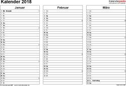 Vorlage 6: Kalender 2018 für Excel, Querformat, 4 Seiten, jedes Quartal auf einer Seite