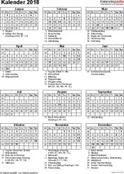 Vorlage 16: Kalender 2018 für Excel, Hochformat, 1 Seite, mit Feiertagen und Festtagen
