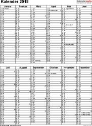 Vorlage 9: Kalender 2018 für Word, Hochformat, 1 Seite, nach Jahreshälften untergliedert