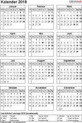 Vorlage 14: Kalender 2018 für Excel, Hochformat, 1 Seite