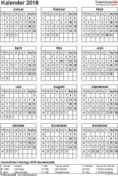 Vorlage 15: Kalender 2018 für Word, Jahresansicht, Hochformat, 1 Seite